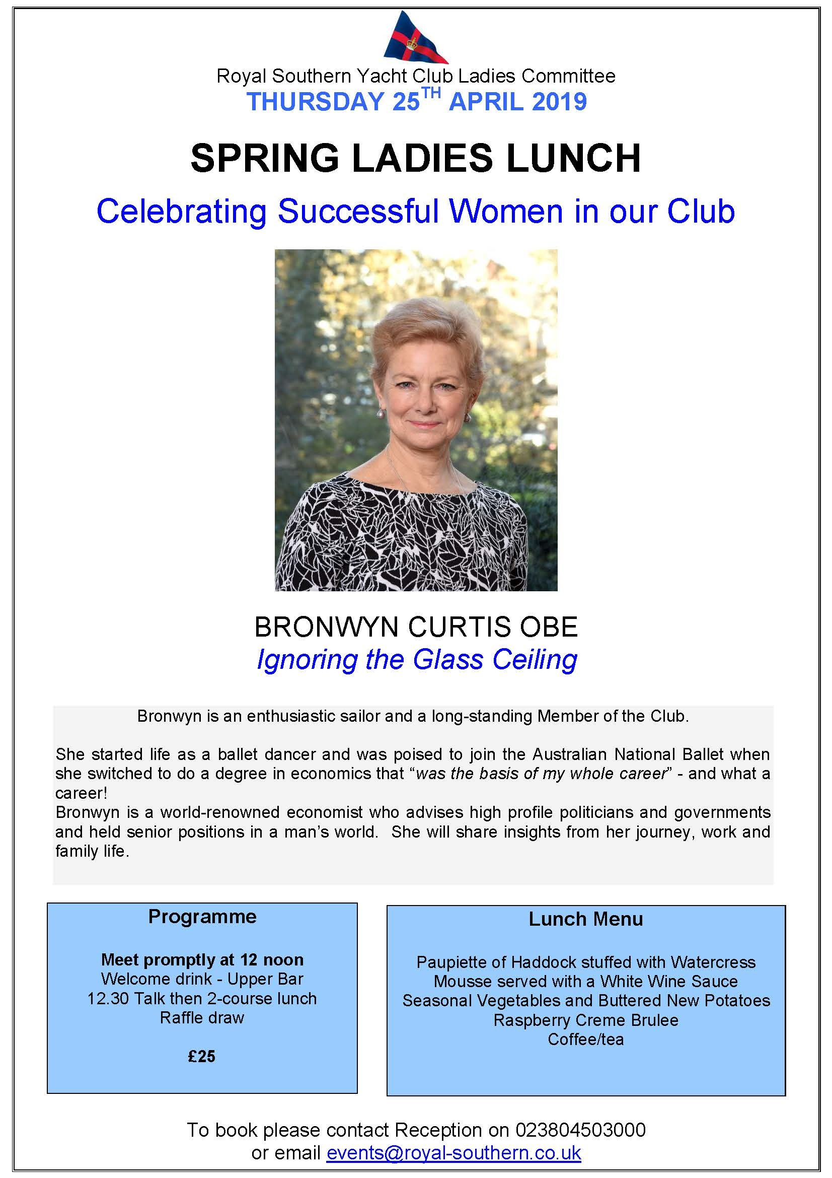 Final Poster Spring Ladies Lunch Bronwyn 25 April 2019
