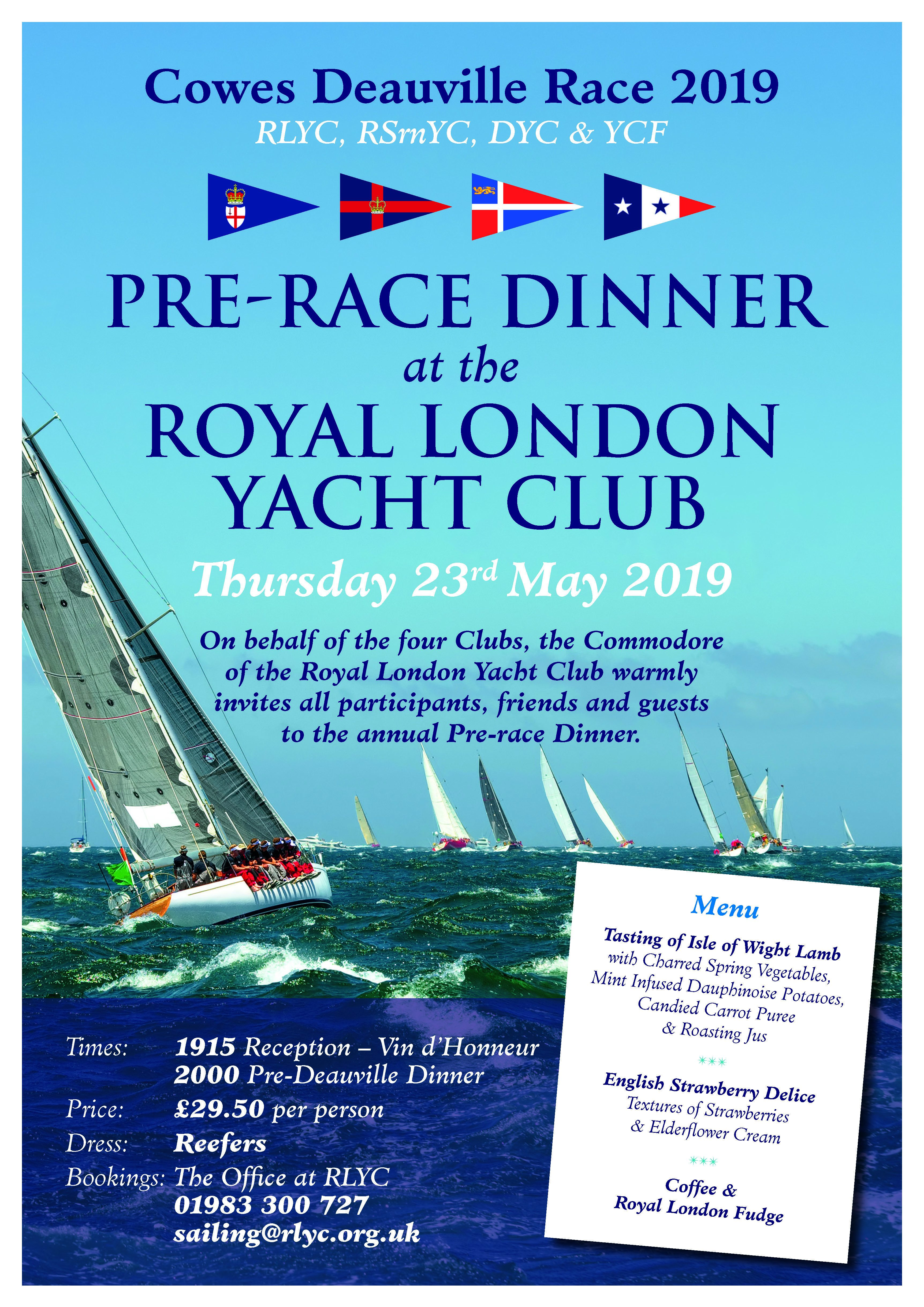 Rlyc Cowes Deauville Pre Race Dinner 23Rd May 2019